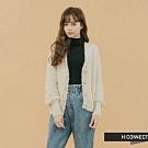 H:CONNECT 韓國品牌 女裝 - 仿皮草排釦針織外套- 卡其