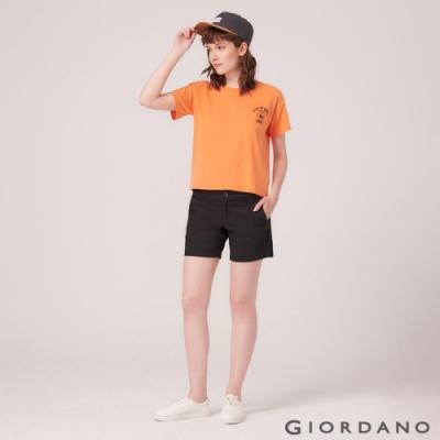 GIORDANO 女裝素色休閒卡其短褲-09 標誌黑