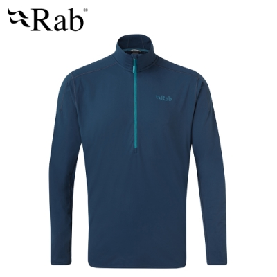【英國 RAB】Flux Pull On 長袖拉鍊保暖排汗衣 男款 墨藍 #QFF08