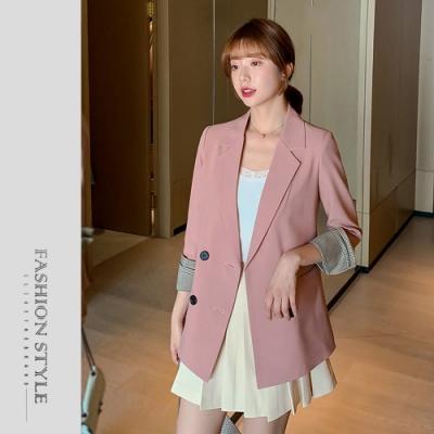 2F韓衣-簡約格紋反摺袖排扣西裝外套-2色(M~2XL)