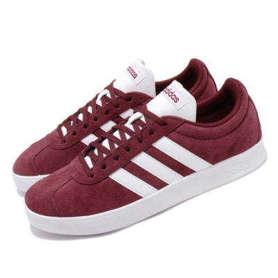 adidas 休閒鞋 VL Court 2 麂皮 男鞋 愛迪達 復古 滑板 街頭 穿搭 紅 白