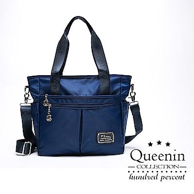 DF Queenin流行 - 簡約防潑水多隔層TWO-WAY百搭托特包-共3色
