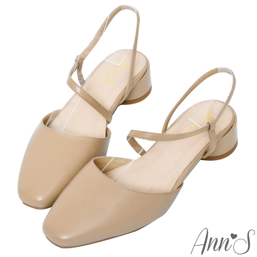 Ann'S親切氣息-拉帶低跟方頭包鞋-杏
