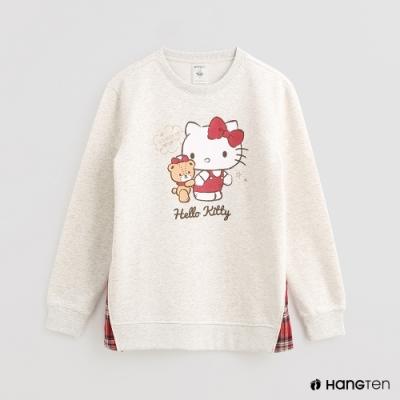 Hang Ten -女裝-Sanrio-可愛圖樣配色格紋圓領上衣-白