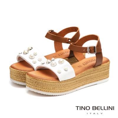 Tino Bellini義大利進口珍珠點點舒適厚底涼鞋_白