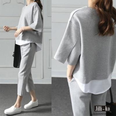JILLI-KO 兩件套韓版假兩件開衩七分套裝- 灰色