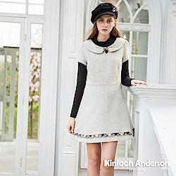 【Kinloch Anderson 金安德森女裝】毛料蕾絲前飾釦洋裝