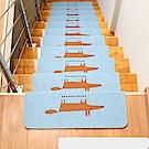 半島良品 可重覆黏貼樓梯止滑墊5入-狐狸 粉藍