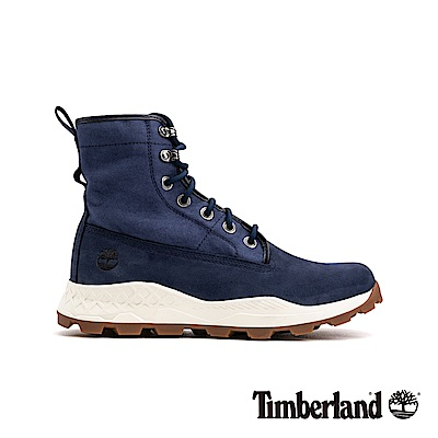 Timberland 男款海軍藍磨砂革配針織布魯克林休閒靴|A229C