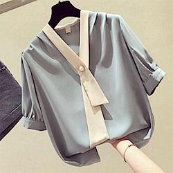 初色  V領雪紡七分袖襯衫-共3色-(M-XL可選)