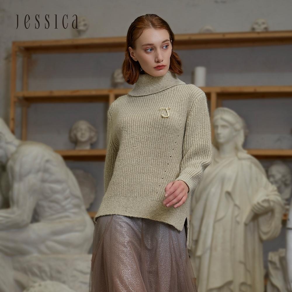 JESSICA - 香檳色精緻百搭羊毛混紡保暖翻領粗針織衫毛衣