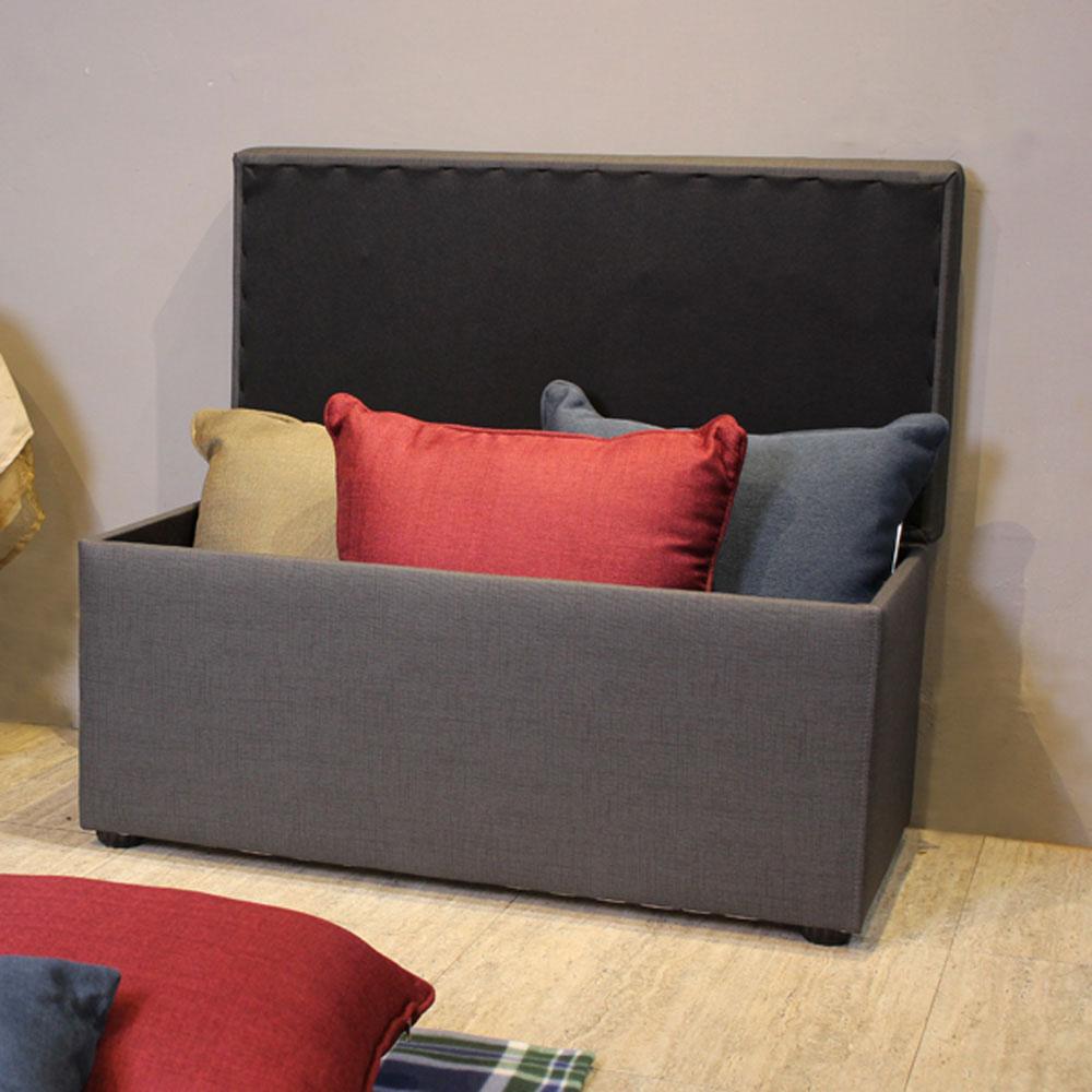 Asllie貝琪掀蓋收納長椅/腳凳/床前椅/沙發椅凳(貓抓皮)-黑色