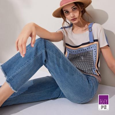 ILEY伊蕾 刷色流線剪裁微喇叭牛仔褲(藍)1211028626