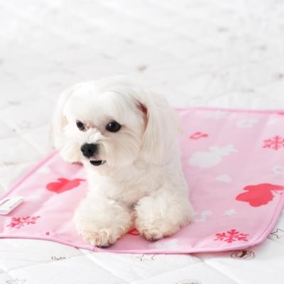 奶油獅-雪花樂園-長效型降6度涼感冰砂冰涼墊(40x45cm)小型寵物涼墊-粉色(一入)