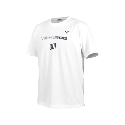 VICTOR 男女中華隊奧運應援服-台灣製 吸濕排汗 涼感 慢跑 短袖T恤 上衣 勝利 T-2106A 白丈青紅