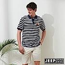 JEEP 時尚狐狸圖騰條紋短袖POLO衫-藍色