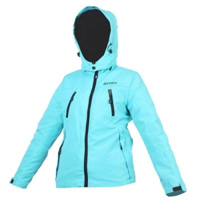 FIRESTAR 女防水舖棉外套-可拆帽外套 連帽外套 保暖外套 防風外套 湖水綠黑