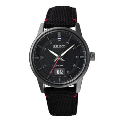 SEIKO 經典圓形百搭日期腕錶(SUR271P1)-黑/40mm