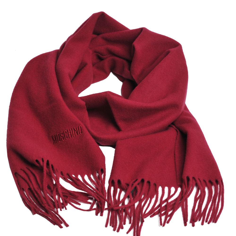 MOSCHINO 義大利製美麗諾羊毛字母LOGO刺繡寬版披肩/圍巾(酒紅)
