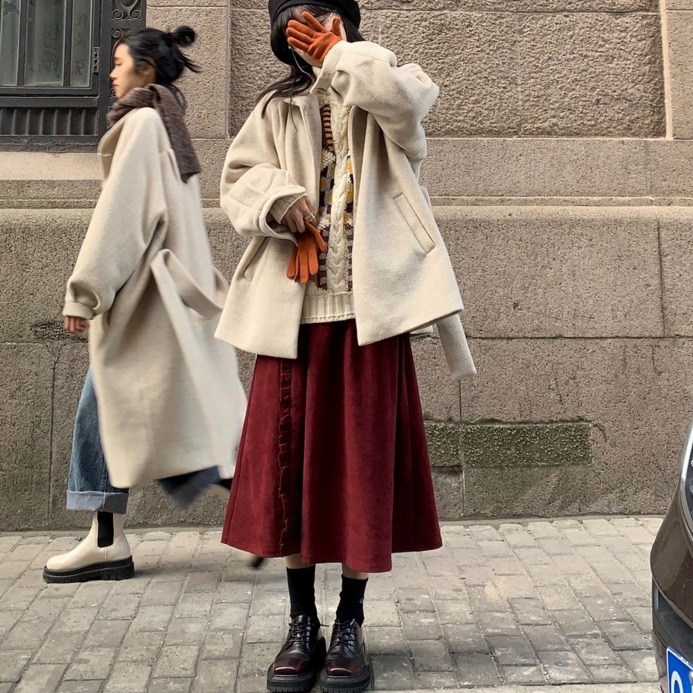 MOCO法式素色鬆緊腰燈芯絨荷葉滾邊大擺裙中長裙L~4XL