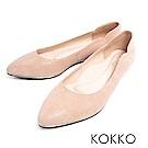 KOKKO - 優雅弧線尖頭點鑽真皮楔型鞋-暖膚