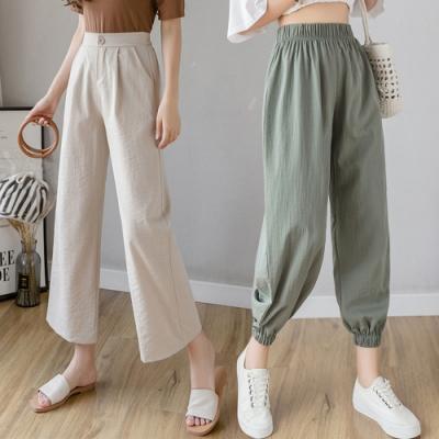 【時時樂】【KD】日式透氣棉麻九分休閒褲(2款任選)