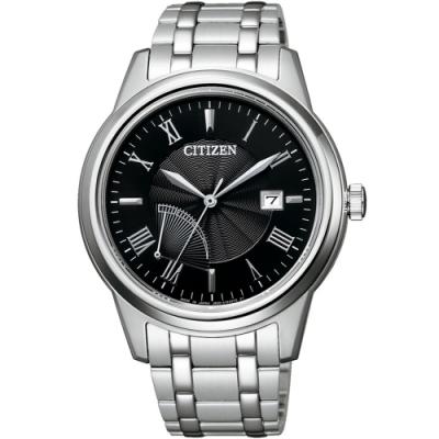 CITIZEN 星辰 光動能電力顯示簡約手錶(AW7001-98E)-黑x銀
