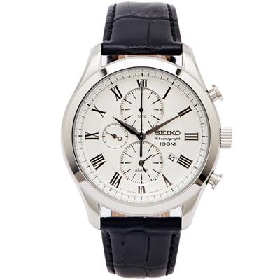 SEIKO 文青時尚風三眼計時皮革手錶(SNAF69P1)-銀面X黑色/43mm