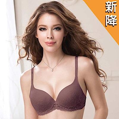 華歌爾 新隱絲系列 D罩杯無痕內衣(紫紅)