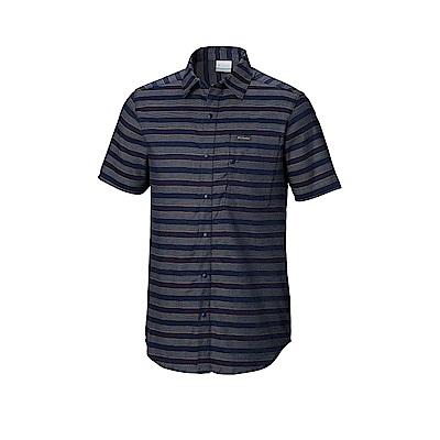 Columbia哥倫比亞 男款-短袖襯衫-深藍 UAJ07240NY