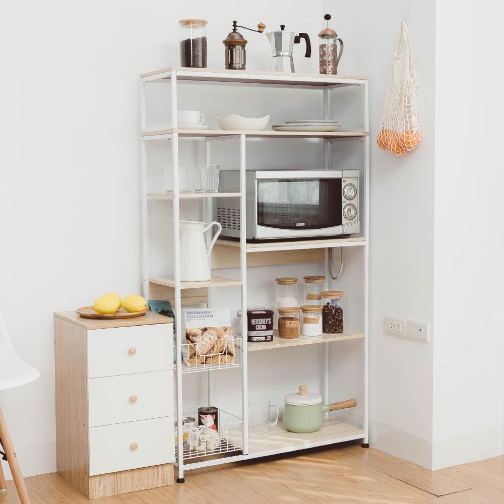 樂嫚妮 廚房多用途收納置物五層微波爐架-楓櫻木白