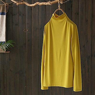 莫蘭迪色寬鬆柔糯感半高領萊卡棉內搭衫t恤-設計所在