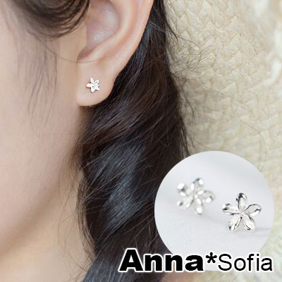【3件480】AnnaSofia 銀爍雞蛋花 925銀針耳針耳環(銀系)