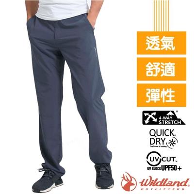 荒野 WildLand 男新款 四向彈性抗UV/快乾透氣吸濕排汗長褲_深灰