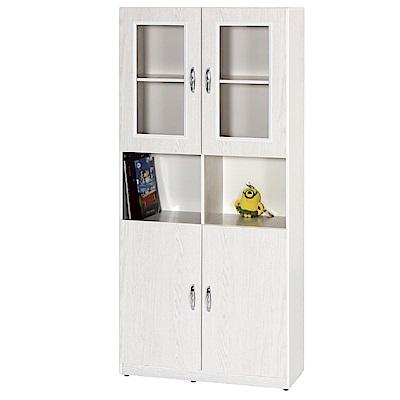 綠活居 阿爾斯2.7尺塑鋼四門二格高書櫃(二色)-81.5x33x180cm免組