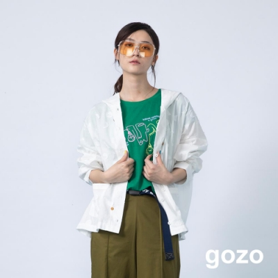 gozo 幾何抽鬚印花連帽上衣(白色)