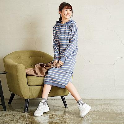 慢 生活 POLO螺紋袖針織連身裙-細條藍