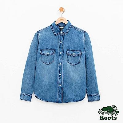 女裝Roots 牛仔襯衫-藍