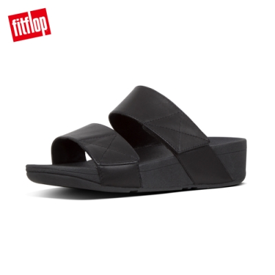 【FitFlop】MINA LEATHER SLIDES 可調式寬帶涼鞋-女(靓黑色)