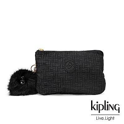 Kipling黑色幾何紋路三夾層配件包-CREATIVITY XL