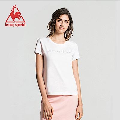 le coq sportif 法國公雞牌前胸燙鑽LOGO圓領短袖T恤 女-白