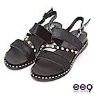 ee9 花漾年華鑲嵌珍珠質感豹紋馬毛拼接平底涼鞋 黑色