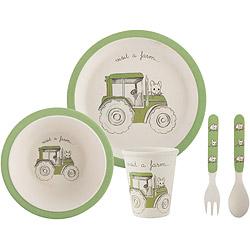 CreativeTops 兒童竹纖維水杯+叉匙碗盤組(小白鼠)