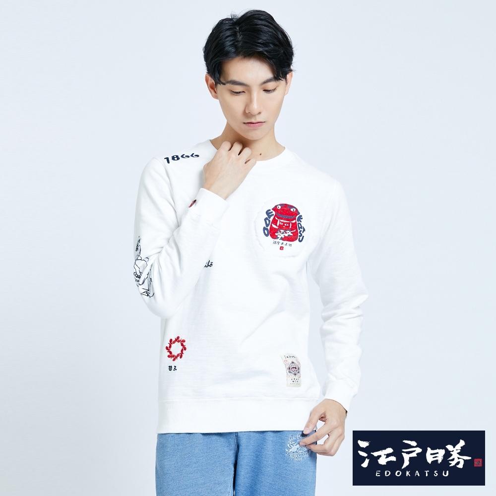 EDO KATSU江戶勝 鴻潮赤物刷毛厚長袖T恤-男-米白色