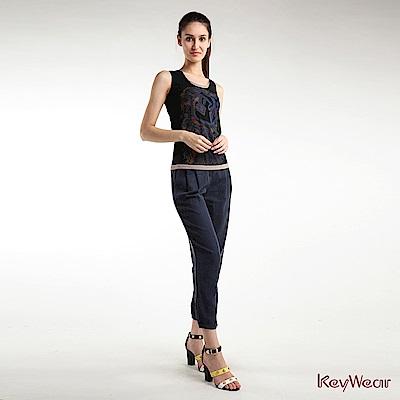 KeyWear奇威名品    時尚帥氣中腰打褶九分褲-深藍色
