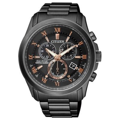 CITIZEN Eco-Drive 航道環行三眼計時錶-黑-BL5545-50E-43mm