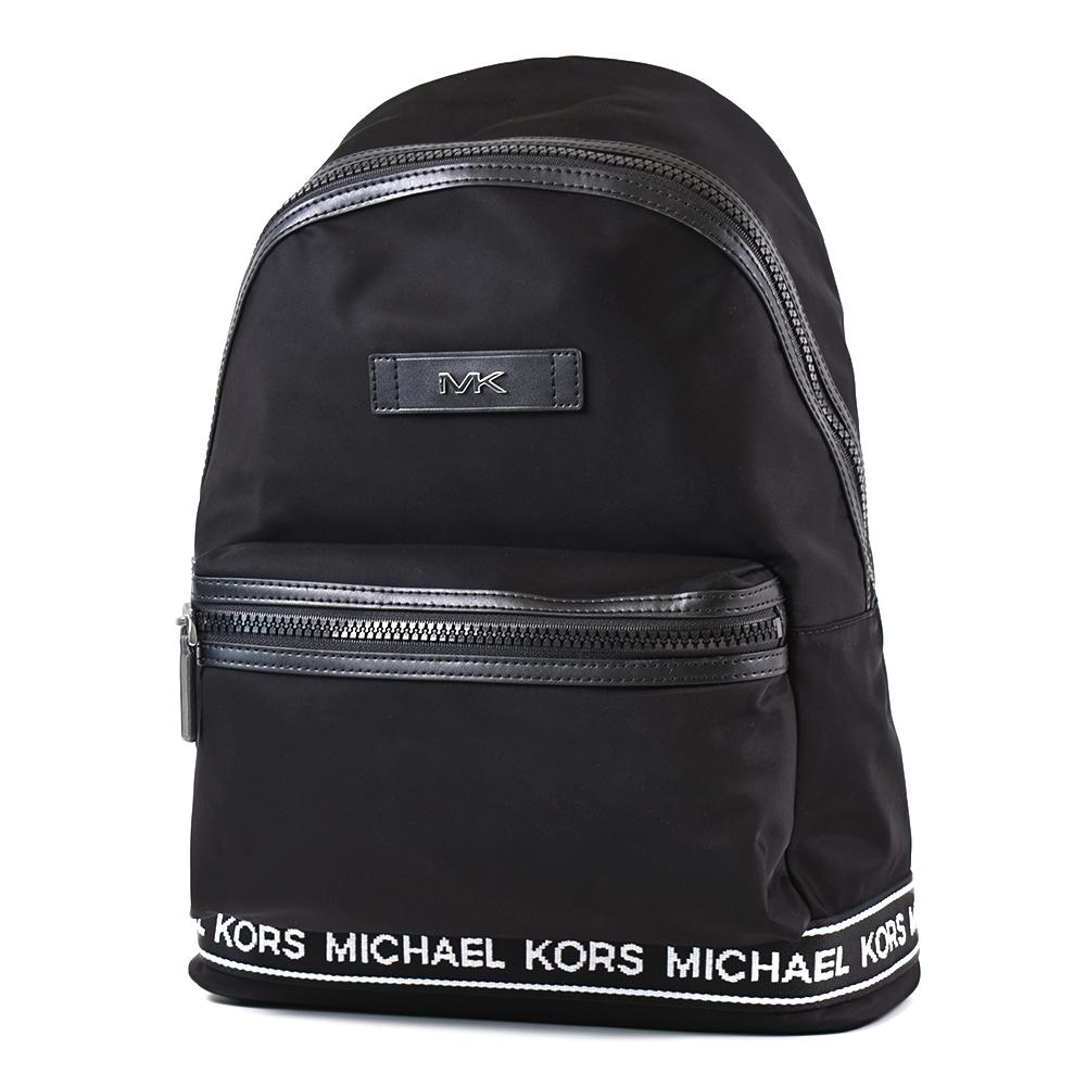 MICHAEL KORS 男款 銀字高密度尼龍織布飾邊輕量拉鍊後背包-黑色/大