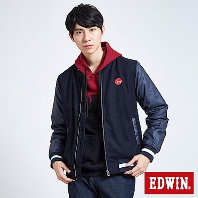 EDWIN 搖滾不死 毛呢剪接舖棉外套-男-丈青