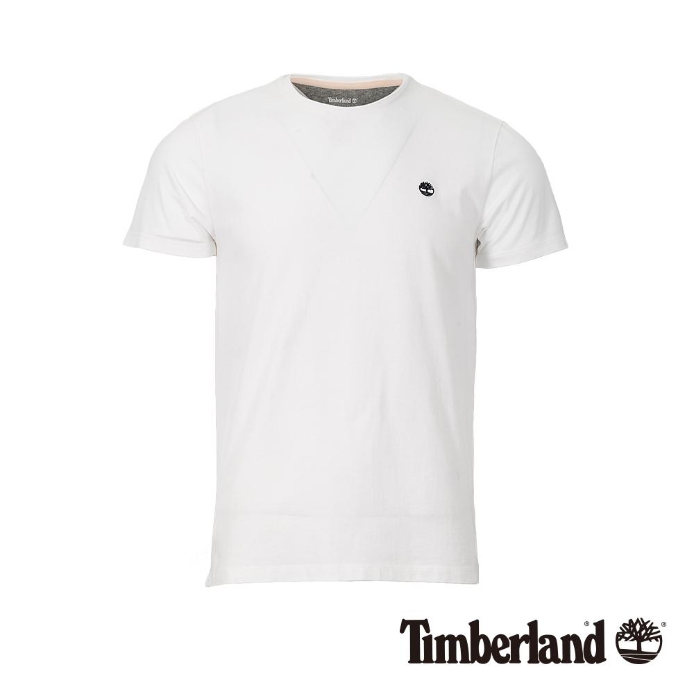 Timberland 男款白色圓領修身短袖T恤 A1MH6