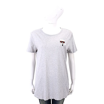 Karl Lagerfeld IKONIK EMOJI 愛心眼刺繡補丁灰色純棉T恤